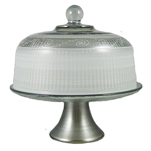Golden Hill Studio Cake Dome Hand Painted in the USA by American Artists-Heirloom Pewter Swirl Collection