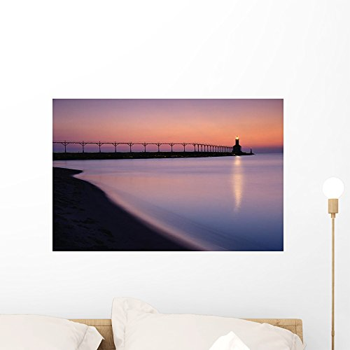 Michigan City Lighthouse Sunset Wall Mural by Wallmonkeys Peel and Stick Graphic (24 in W x 16 in H) - City Lighthouse Michigan Place