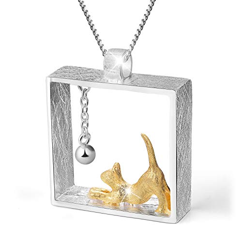 Lotus Fun S925 Sterling Silver Necklace Pendant Cat Playing Balls Pendant with Necklaces Link Chain Length 17inches, Handmade Unique Jewelry Gift for Women and Girls ()