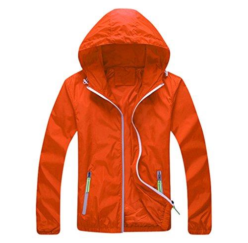 Tortor 1Bacha Men's Hooded Windbreaker Outdoor UV Sun Protection Jacket Orange - Windbreaker Orange