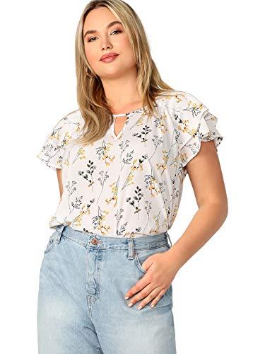 Romwe Women's Plus Size Floral Print Ruffle Cap Sleeve Blouse Top White# 2XL