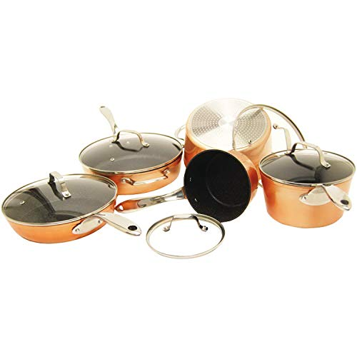 - Cookware Set. Best 10 Piece Pots and Pans Non Stick, Aluminum Copper Cooking Frying Kit With Glass Lids. Oven Safe. Saucepan, Skillet. Bronze
