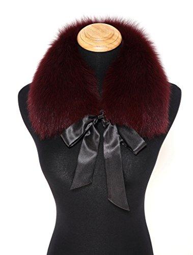 Ferand Ladies Stylish Genuine Fox Fur Collar Scarf with Satin Ribbon - Burgundy