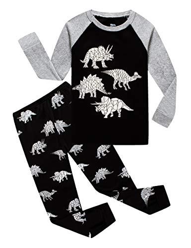 KikizYe Little Boys Glow in The Dark Dinosaur Long Sleeve Pajamas 100% Cotton Sleepwear Size 6 Boy Black Pjs Pajamas