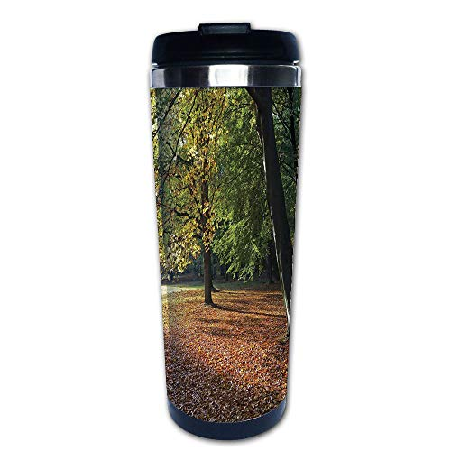 Germany Demitasse (Stainless Steel Insulated Coffee Travel Mug,Berlin Germany Forest Sightseeing Urban View Autumu,Spill Proof Flip Lid Insulated Coffee cup Keeps Hot or Cold 13.6oz(400 ml) Customizable printing)