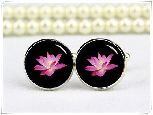 Beautiful Dandelion pink lotus flower cuff links, yoga cufflinks, OM (Lotus Cufflinks)