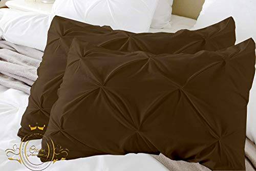 Chocolate Solid Pinch Pleated Pintuck Pillow Shams Set of 2 - Hypoallergenic 500-TC 100% Egyptian Cotton Decorative Pintuck Pillow Sham (Chocolate, Full/Twin/Standard 20'' x - Sham Chocolate Standard