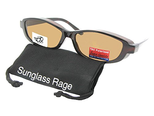 Style F13 Skinny Oval Shape Polarized Fit Over Sunglasses With Sunglass Rage Pouch (Tortoise Frame-Brown - Men Shape Face Oval