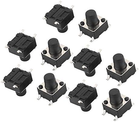 uxcell プッシュボタンスイッチ 押しボタンスイッチ ミニタクトスイッチ 触覚スイッチ ピン長さ1.5mm 4ピン 10個入り