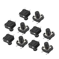 uxcell 10Pcs 4 Pin Square 6mmx6mmx7.5mm Self-Locking DPDT Mini Reset Push Button Switch