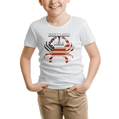 Maryland Crab Unisex Child white tshirt Cotton short sleeve soft ()