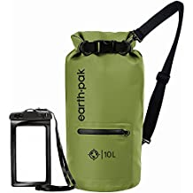 Earth Pak- Waterproof Dry Bag with Front Zippered Pocket Keeps Gear Dry for Kayaking, Beach, Rafting, Boating, Hiking, Camping and Fishing with Waterproof Phone Case
