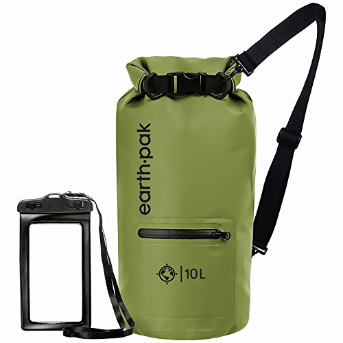 Earth Pak- Waterproof Dry Bag with Front Zippered Pocket Keeps