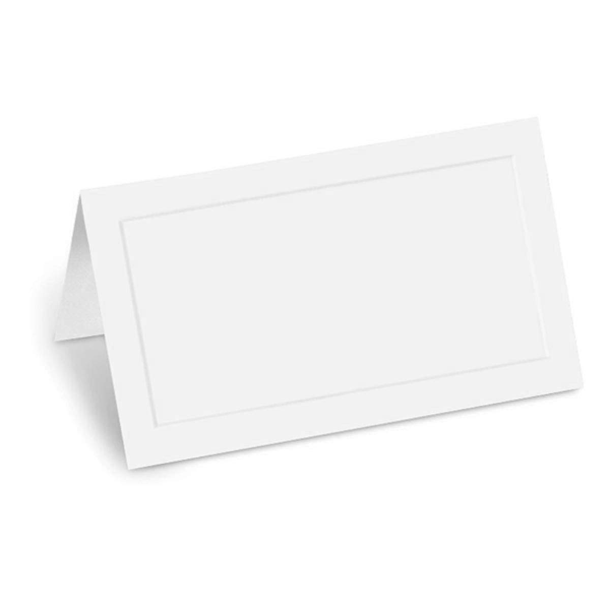 PaperDirect White Dignity Embossed 38lb Cover Stock Folded Place Cards, Micro-Perforated, 2'' x 3 1/2'', 100/pack, Laser and Inkjet Compatible