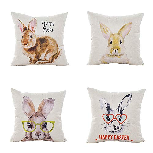 LEIOH Happy Easter Watercolour Rabbit Pillow Covers Set of 4 Sofa Home Decor Bunny Throw Pillow Case Cushion Covers 18 X 18 Inch ()