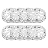 CHICTRY 8 Pack Mason Jar Lids Stainless Steel Hollow Out Flower Shape Lids Rust Resistant Storage Solid Caps for Jam Canning Drinking Jars 70mm Inner Diameter