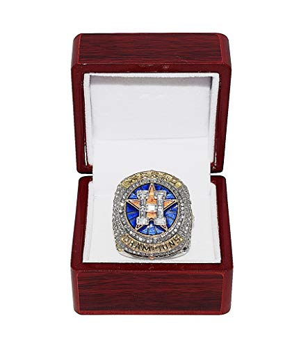 HOUSTON ASTROS (Jose Altuve) 2017 WORLD SERIES CHAMPIONS (First Series Title) HOUSTON STRONG Collectible High-Quality Replica Silver & Gold Baseball Championship Ring with Cherrywood Display Box ()