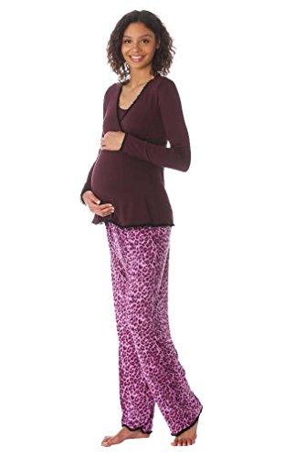 Majamas Margo Nursing Pajama Set - Andora/Pink Leopard - ...