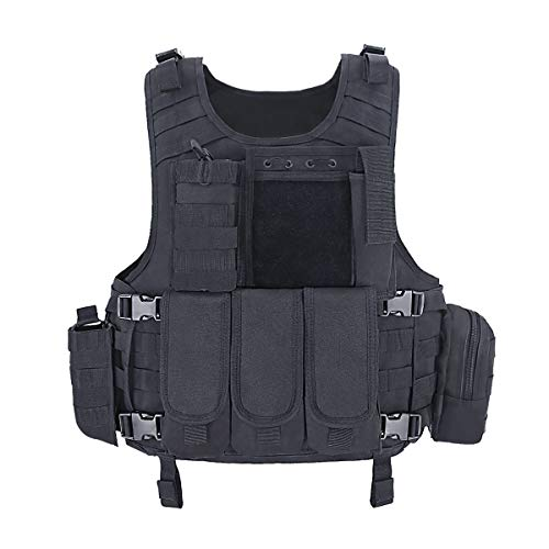 MGFLASHFORCE Tactical CS Field Vest, Airsoft Paintball Vest (Black)