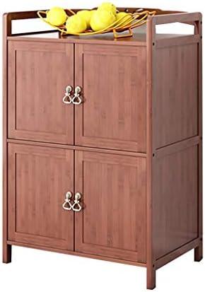 強力な ロッカーリビングルームサイドボードホームキッチン電子レンジキャビネットフロアラックベッドルーム多層収納キャビネットキャビネット付きドア (Color : BROWN, Size : 60*38*88CM)