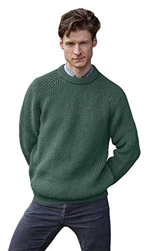 100% Pure Irish Wool Fishermans Rib Crew Neck Sweater(Small Moss) by The Irish Store - Irish Gifts from Ireland