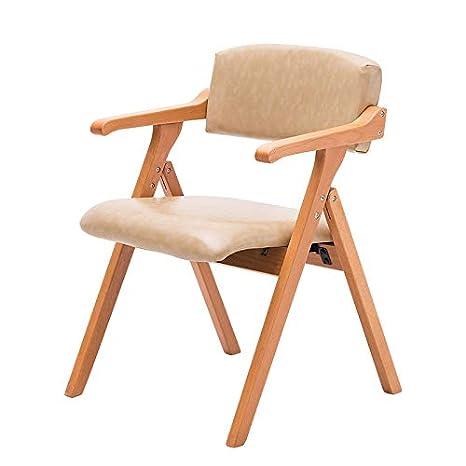 Amazon Com Wpdyz Chair Pu Soft Cushion Folding Chair Solid Wood