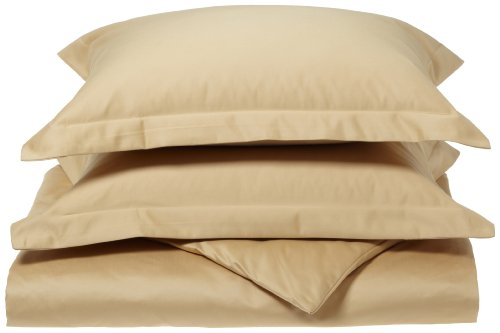 Luxury Manor Collection 800-Thread Count Solid Cotton Full/Queen Duvet Set, Gold