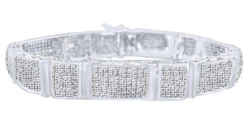 Father's Day Gift White Natural Diamond Tennis Bracelet In 14k White Gold Over Sterling Silver (3.00 cttw)-8.5