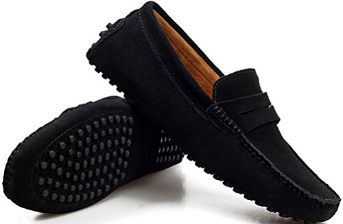 Abby Mens Qz-2088 Fashion Comfort Cosy Cosiness Message Chirismus Platte Leren Schoenen Zwart