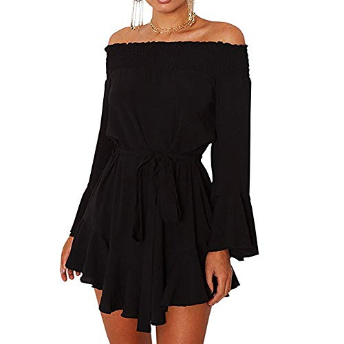 (HITRAS Clearance!Women Dress!Womens Off Shoulder Flared Drop Hem Tied Casual Mini Dress With Belt)