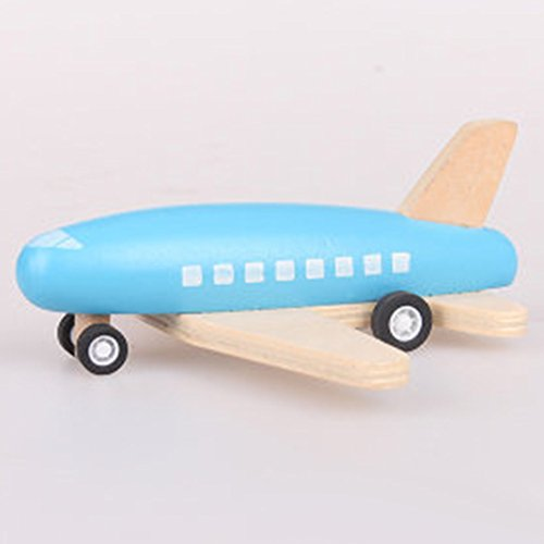 Liebye 平面のおもちゃ 木質飛行機 子どもの木は、バックプレーンおもちゃを引っ張るの贈り物として慣性を持つ小型航空機のモデルブルーボディ ブルーボディ