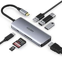 CHOETECH Hub USB C naar HDMI 5 In 1, USB 3.1 Type C HDMI Adapter met 4K HDMI, USB3.0, SD /TF Lezer voor...