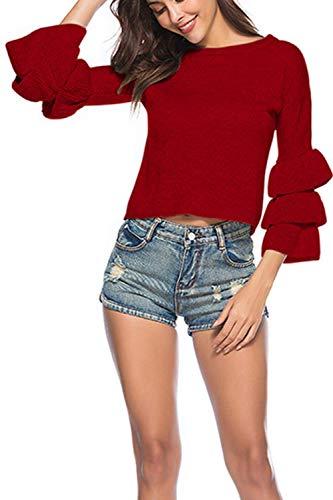 Dimensione Dimensione Large Donna Casual Viola Autunno Primavera Yisaesa Colore Colore Maglioni Maniche da Tops Girocollo Rosso Crop pRwTOx7F