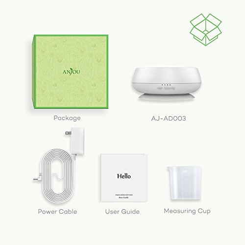 Essential Oil Diffuser 300ml Anjou Aroma Humidifier Ultrasonic Cool Mist Humidifier with Ultra-Quiet Operation (7 Changable Colors, BPA-Free, 4 Timer Mode, Up to 12H Use) by Anjou (Image #5)