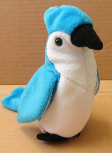 TY Beanie Babies Rocket the Blue Jay Bird Stuffed Animal Plush Toy - 5 1/2 inches tall - Blue and White