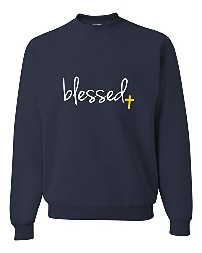 (Go All Out Medium Navy Adult Blessed Christian Humble Sweatshirt)