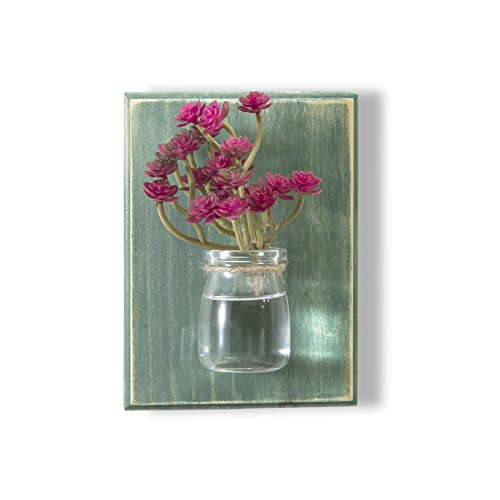 WOOD MEETS COLOR Wall Vases,Creative Handcrafted Hanging Vases, Wall Planter, Flower Container, Home Decoration, Without Flower (Lily Green)