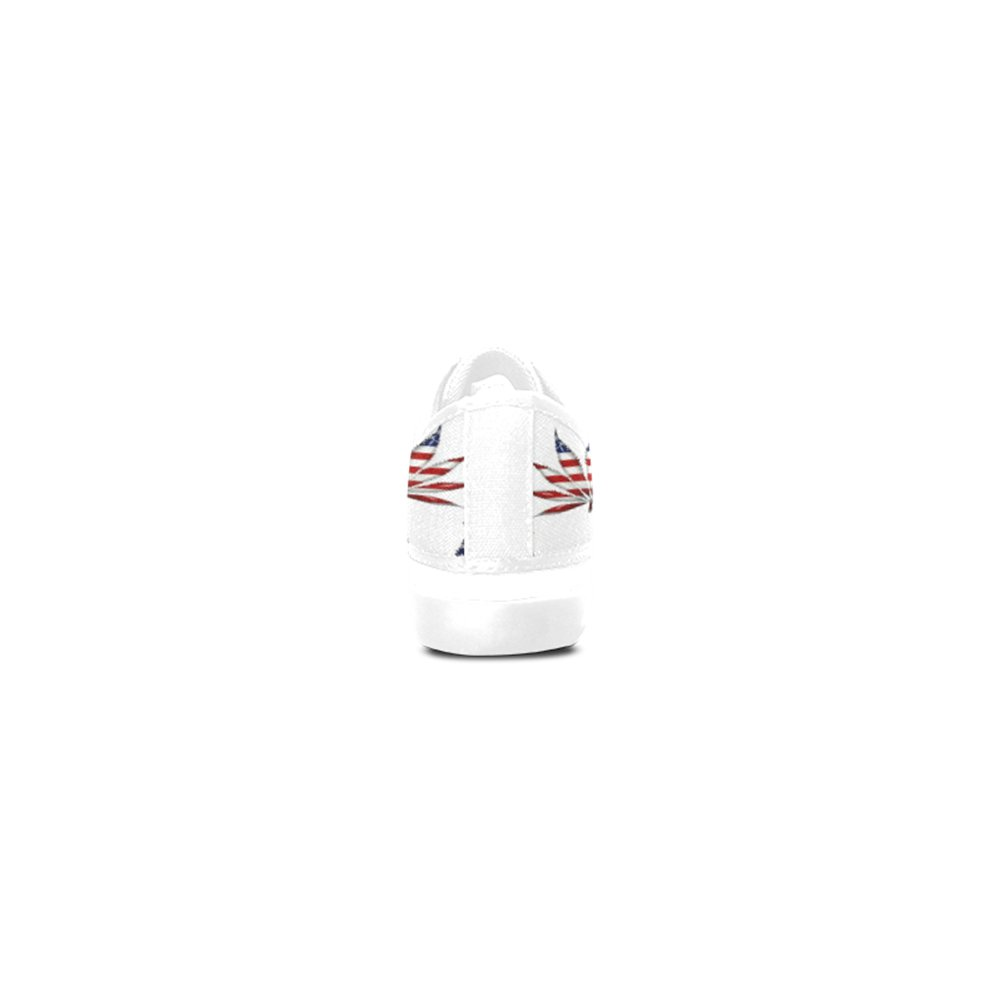 MAIHT Smoke Weed Womens Canvas Shoes Nonslip Zippered Sneakers,White