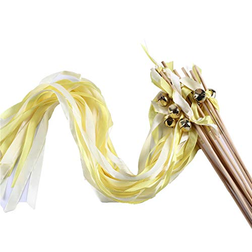 Wishprom 30 Ribbon Wands Gold Bells Wedding Party Activities Divinity Braid Send Off Bells (Yellow, Gold) (Gold Ribbon Wands)