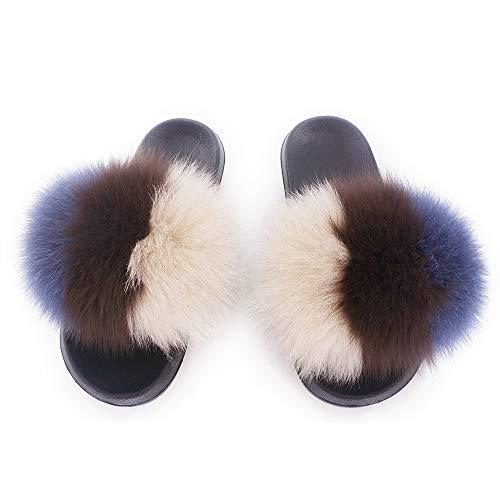 Toe Feather Open Sandals Vegan On Single Fur 15 Women Mixed Strap Fox Manka Color Real Vesa Leather Slip UxX8qwz