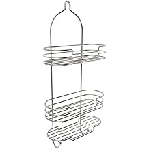 Lavish Home Tall Shower Caddy with Shelves and Hooks-Showerhead Bath Organizer with Non Slip Grip and Rustproof Corrosion Resistant Satin Finish