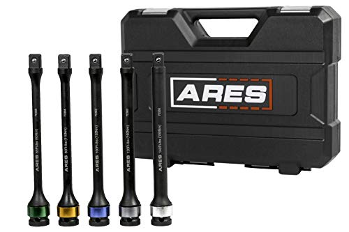 (ARES 70367 | Torque Limiting Extension Bar Set | Chrome Moly 1/2-Inch Drive 8 Inch Long Impact Grade Bars | Flex Action Prevents Over-Tightening | Color Coded for Easy)