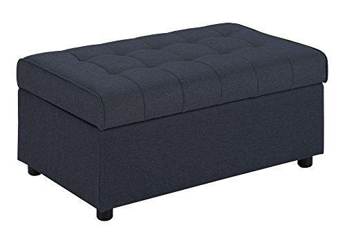 DHP Emily Rectangular Storage Ottoman, Modern Look with Tufted Design, Lightweight, Blue Linen Review