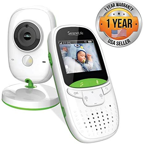 Serenelife Video Baby Monitor Long Range – Upgraded 850 Wireless Range, Night Vision, Temperature Monitoring and Portable 2 Color Screen – SLBCAM10.5