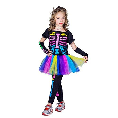 flatwhite Halloween Girl's Skeleton Costumes (L)