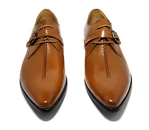 Hombres Cuero Zapatos Con cordones Primavera Trabajo Real marrón Puntiagudo Negocio Boda británico Estilo Tobillo Negro Otoño Brown