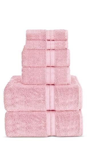 TURKUOISE TURKISH TOWEL Premium Quality 100% Turkish Cotton Eco-Friendly Towels (Bundle 6PK, Pink) (Bath Towels Pink)