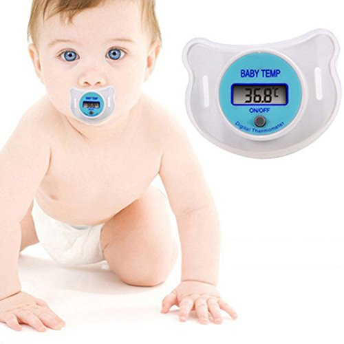 Leezo LCD Digital Mouth Nipple Pacifier Thermometer Temperature for Practical Baby Kid (blue)
