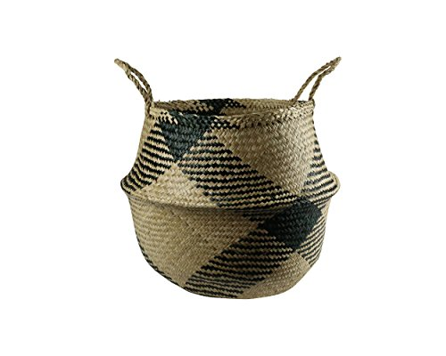 (Kalea Eco- Friendly Large Seagrass Baskets in Gingham - Handmade from Natural Seagrass - Endless Practical Uses for Your Home and Built to Last)