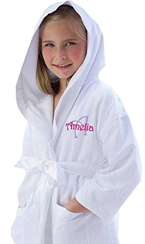Cotton Sisters Monogrammed Terry Cloth Kids Robe (S/M (Fits Ages 3-6)) White